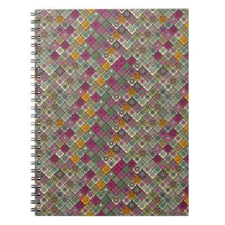 Vintage patchwork with floral mandala elements notebook