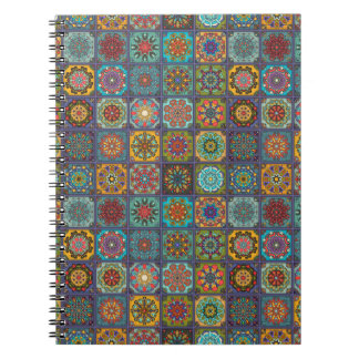 Vintage patchwork with floral mandala elements notebook