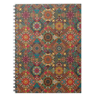 Vintage patchwork with floral mandala elements notebooks