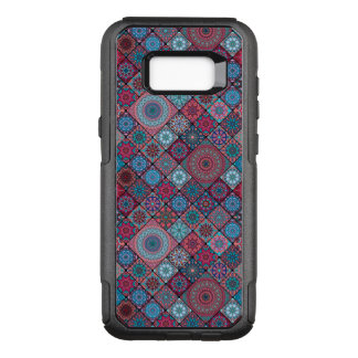 Vintage patchwork with floral mandala elements OtterBox commuter samsung galaxy s8+ case