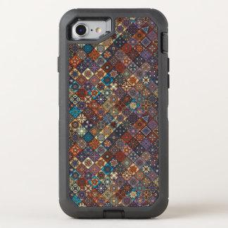 Vintage patchwork with floral mandala elements OtterBox defender iPhone 7 case