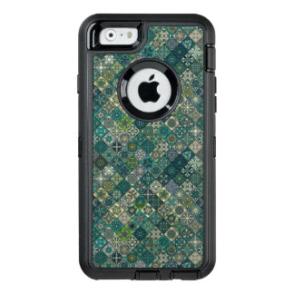 Vintage patchwork with floral mandala elements OtterBox defender iPhone case