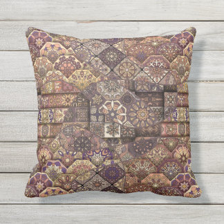 Vintage patchwork with floral mandala elements outdoor pillow