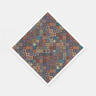 Vintage patchwork with floral mandala elements paper napkin