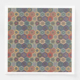 Vintage patchwork with floral mandala elements paper napkins
