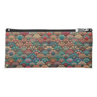 Vintage patchwork with floral mandala elements pencil case
