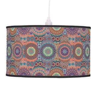 Vintage patchwork with floral mandala elements pendant lamp