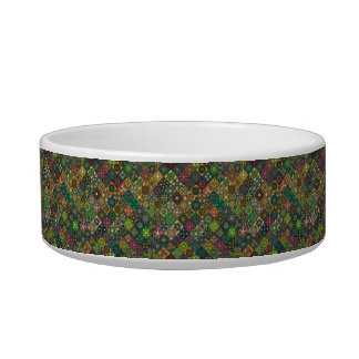 Vintage patchwork with floral mandala elements pet water bowl