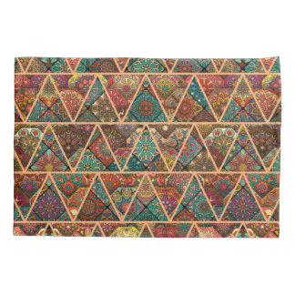 Vintage patchwork with floral mandala elements pillowcase