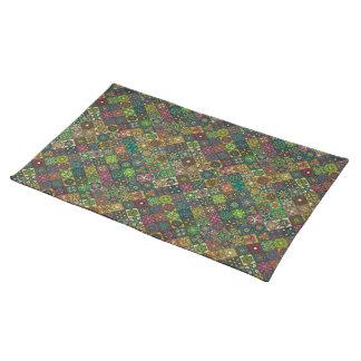 Vintage patchwork with floral mandala elements placemat