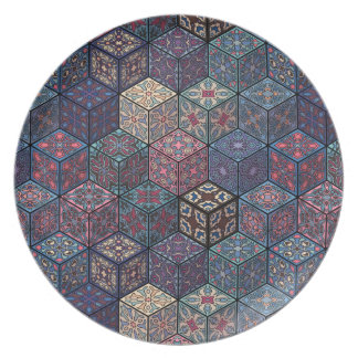Vintage patchwork with floral mandala elements plate