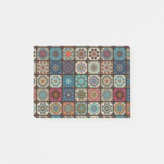 Vintage patchwork with floral mandala elements post-it notes