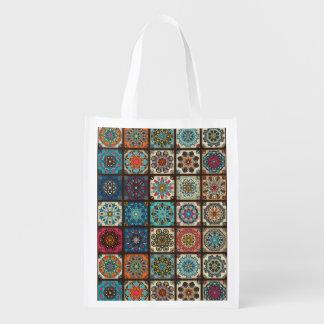 Vintage patchwork with floral mandala elements reusable grocery bag