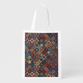Vintage patchwork with floral mandala elements reusable grocery bags