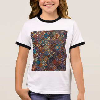 Vintage patchwork with floral mandala elements ringer T-Shirt