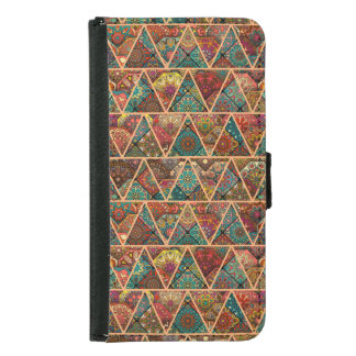 Vintage patchwork with floral mandala elements samsung galaxy s5 wallet case