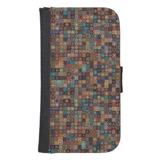 Vintage patchwork with floral mandala elements samsung s4 wallet case