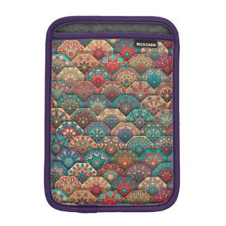Vintage patchwork with floral mandala elements sleeve for iPad mini