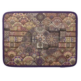 Vintage patchwork with floral mandala elements sleeves for MacBooks