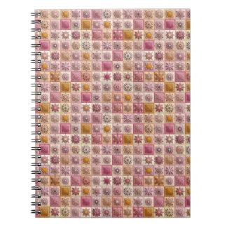 Vintage patchwork with floral mandala elements spiral notebook