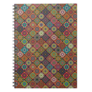 Vintage patchwork with floral mandala elements spiral notebook