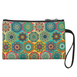 Vintage patchwork with floral mandala elements suede wristlet