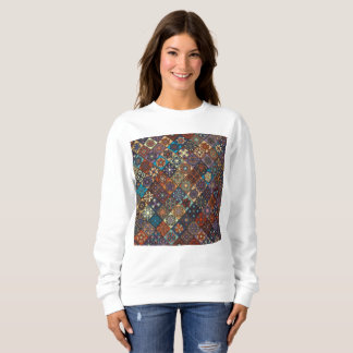 Vintage patchwork with floral mandala elements sweatshirt