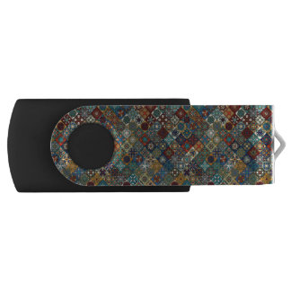 Vintage patchwork with floral mandala elements swivel USB 2.0 flash drive