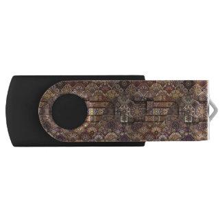 Vintage patchwork with floral mandala elements swivel USB 2.0 flash drive