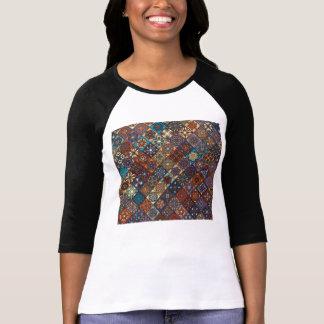 Vintage patchwork with floral mandala elements T-Shirt