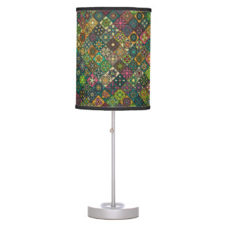 Vintage patchwork with floral mandala elements table lamp