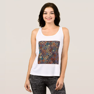 Vintage patchwork with floral mandala elements tank top