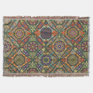 Vintage patchwork with floral mandala elements throw blanket