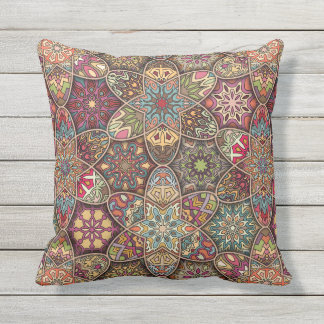 Vintage patchwork with floral mandala elements throw pillow