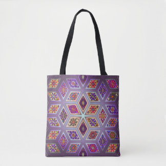 Vintage patchwork with floral mandala elements tote bag
