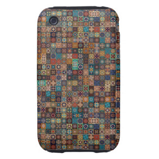 Vintage patchwork with floral mandala elements tough iPhone 3 case