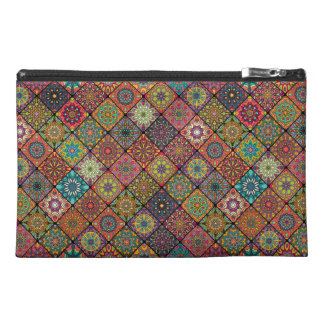 Vintage patchwork with floral mandala elements travel accessories bag