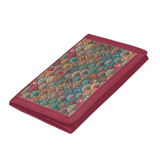 Vintage patchwork with floral mandala elements tri-fold wallet