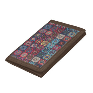 Vintage patchwork with floral mandala elements tri-fold wallets