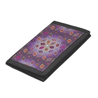 Vintage patchwork with floral mandala elements trifold wallet