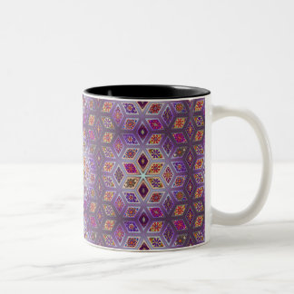 Vintage patchwork with floral mandala elements Two-Tone coffee mug