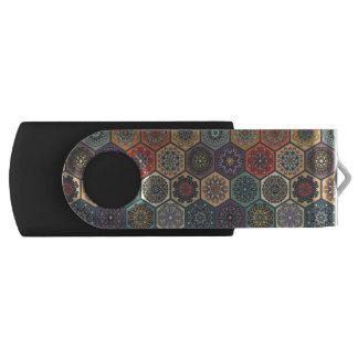 Vintage patchwork with floral mandala elements USB flash drive