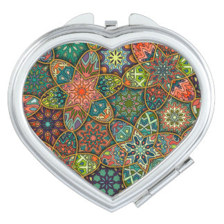Vintage patchwork with floral mandala elements vanity mirrors