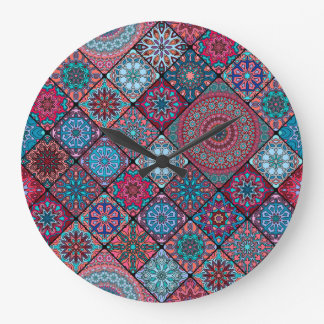 Vintage patchwork with floral mandala elements wall clocks