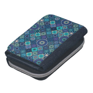 Vintage patchwork with floral mandala elements wallet