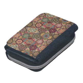 Vintage patchwork with floral mandala elements wallets
