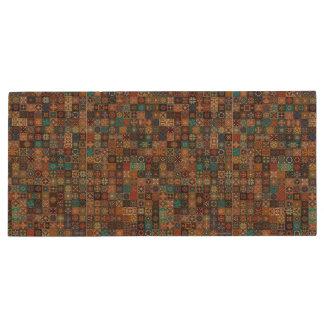 Vintage patchwork with floral mandala elements wood USB 2.0 flash drive