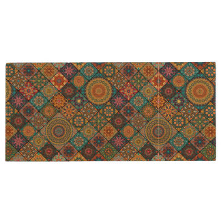 Vintage patchwork with floral mandala elements wood USB 3.0 flash drive