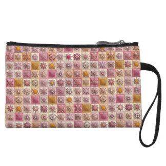 Vintage patchwork with floral mandala elements wristlet