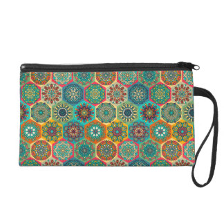 Vintage patchwork with floral mandala elements wristlet